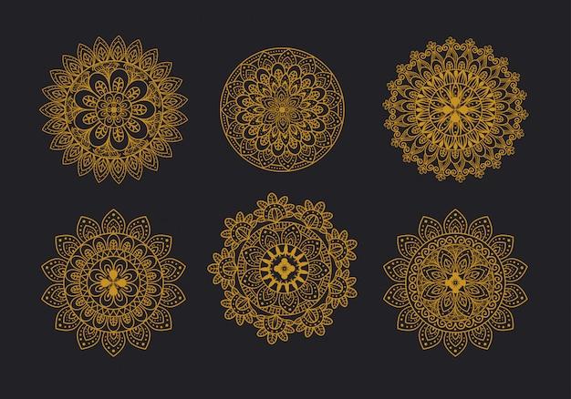 Conjunto de ícones de ornamento floral mandala, luxo vintage, decoração ornamental