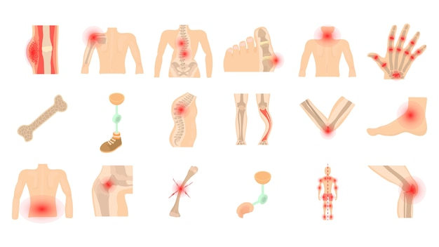 Conjunto de ícones de ossos humanos
