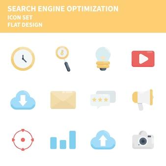 Conjunto de ícones de otimização de mecanismo de busca. conjunto de ícones.