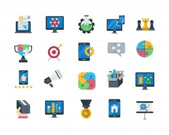 Conjunto de ícones de otimização de mecanismo de pesquisa definido