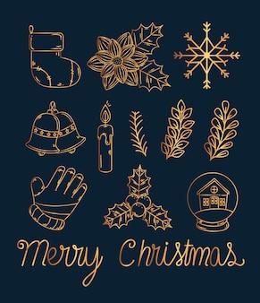 Conjunto de ícones de ouro de feliz natal, temporada de inverno e decoração