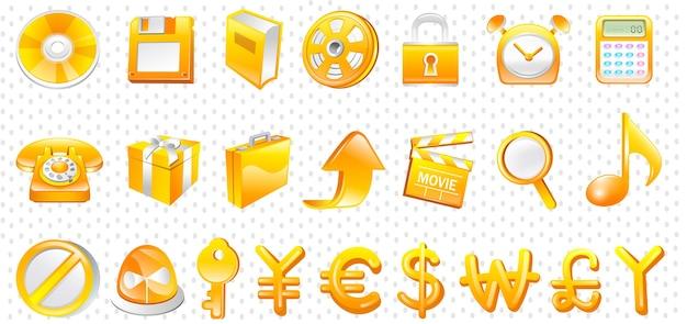 Conjunto de ícones de ouro de negócios