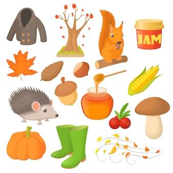 Conjunto de ícones de outono em estilo cartoon