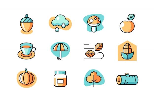 Conjunto de ícones de outono