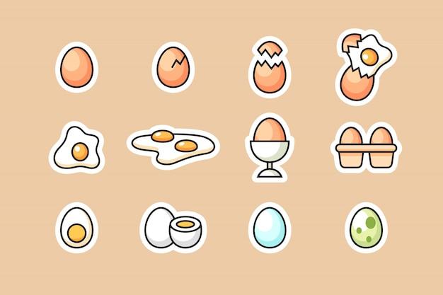 Conjunto de ícones de ovo