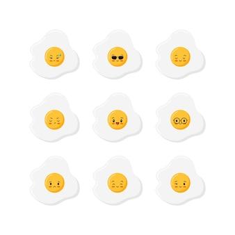 Conjunto de ícones de ovos fritos fofos, vista superior, isolado no fundo branco.