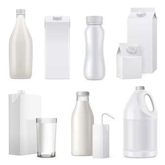 Conjunto de ícones de pacote de garrafa de leite realista branco isolado de papel e plástico de vidro