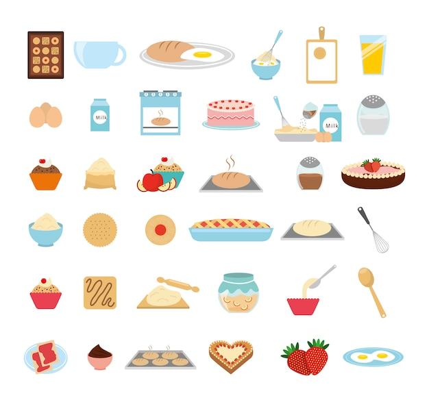 Conjunto de ícones de padaria doce