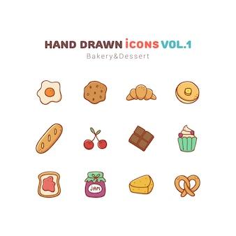 Conjunto de ícones de padaria e sobremesa mão desenhada