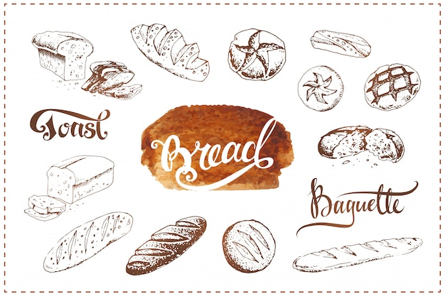 Conjunto de ícones de padaria mão desenhada. esboços de alimentos