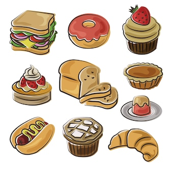 Conjunto de ícones de padaria no estilo doodle