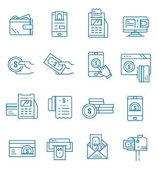 Conjunto de ícones de pagamento com estilo de estrutura de tópicos