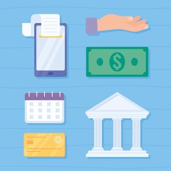 Conjunto de ícones de pagamento de comércio