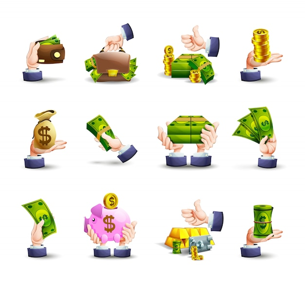 Conjunto de ícones de pagamento em dinheiro de mãos