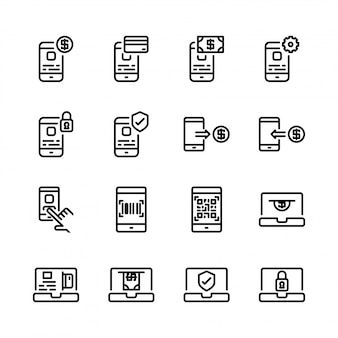 Conjunto de ícones de pagamento on-line