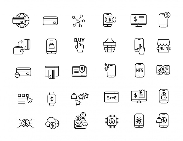 Conjunto de ícones de pagamento online linear