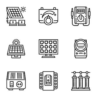 Conjunto de ícones de painel solar, estilo de estrutura de tópicos