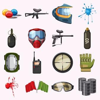 Conjunto de ícones de paintball, estilo cartoon