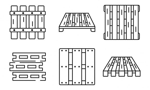 Conjunto de ícones de paleta, estilo de estrutura de tópicos
