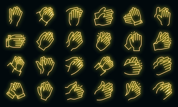 Conjunto de ícones de palmas. conjunto de contorno de ícones de vetor de palmas, cor de néon no preto
