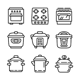 Conjunto de ícones de panela, estilo de estrutura de tópicos