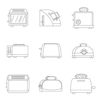 Conjunto de ícones de pão de cozinha torradeira