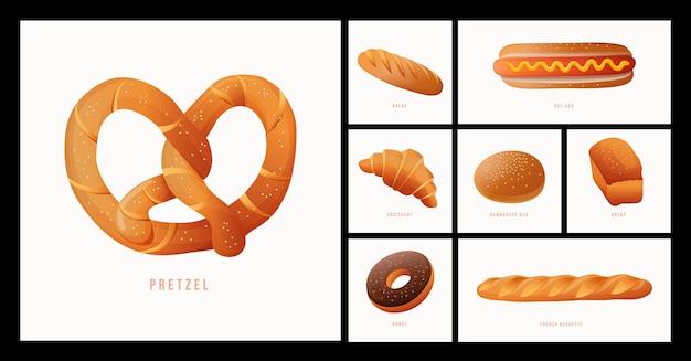 Conjunto de ícones de pão de vetor pretzel pão cachorro-quente croissant bolo de hambúrguer, etc