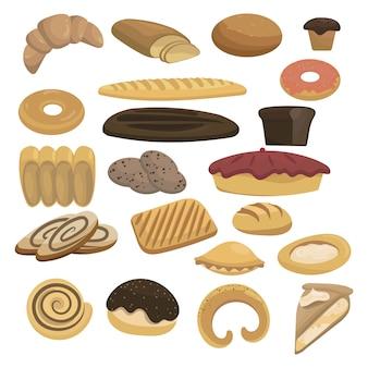 Conjunto de ícones de pão para padaria. coleção de panificação. produtos de farinha para o mercado.