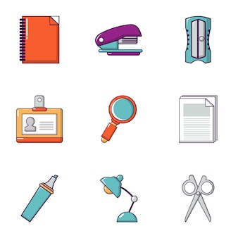 Conjunto de ícones de papelaria, estilo simples