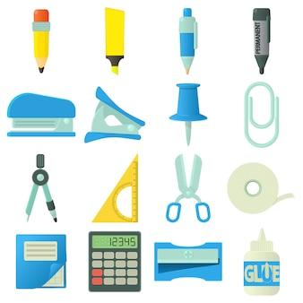 Conjunto de ícones de papelaria