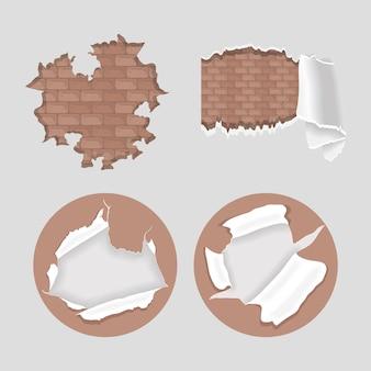 Conjunto de ícones de paredes e papéis rachados