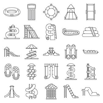 Conjunto de ícones de parque aquático, estilo de estrutura de tópicos