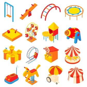 Conjunto de ícones de parque de diversões em estilo cartoon