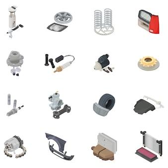 Conjunto de ícones de parte do carro