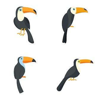 Conjunto de ícones de pássaro papagaio tucano