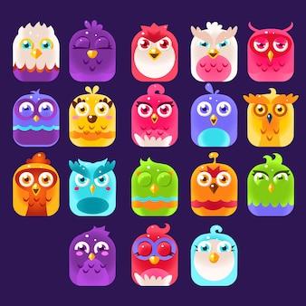 Conjunto de ícones de pássaros de fantasia