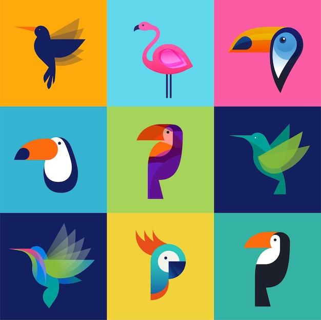 Conjunto de ícones de pássaros tropicais