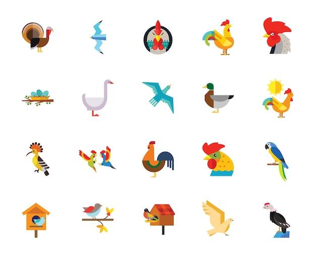 Conjunto de ícones de pássaros