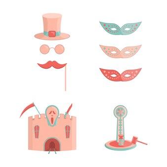 Conjunto de ícones de passeios de parque de diversões dos desenhos animados