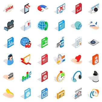 Conjunto de ícones de pasta da web, estilo isométrico