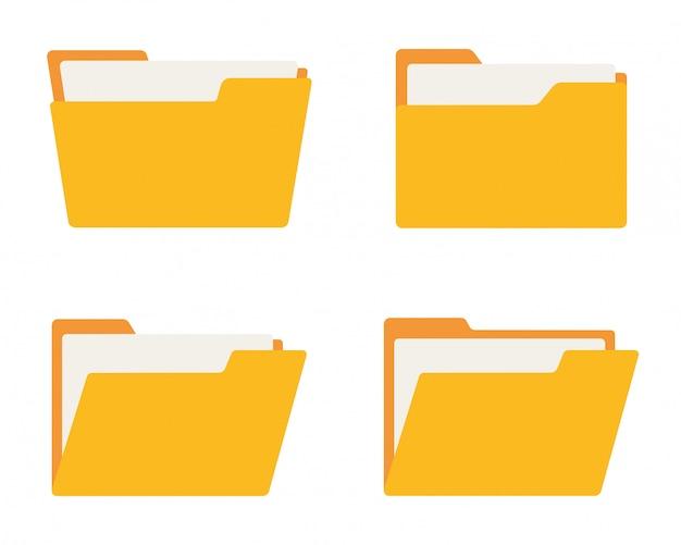 Conjunto de ícones de pasta. estilo simples.