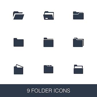 Conjunto de ícones de pasta. sinais de glifo de design simples. modelo de símbolo de pasta. ícone de estilo universal, pode ser usado para interface de usuário da web e móvel