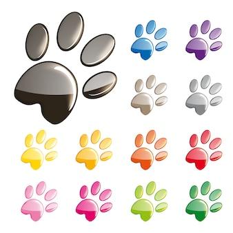 Conjunto de ícones de patas de gatos bonitos