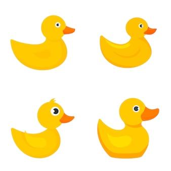 Conjunto de ícones de pato amarelo