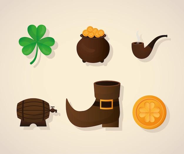 Conjunto de ícones de patricks day em uma ilustração de fundo bege
