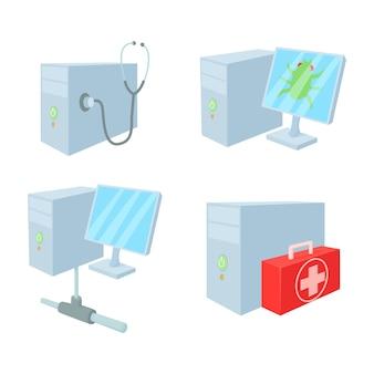 Conjunto de ícones de pc desktop