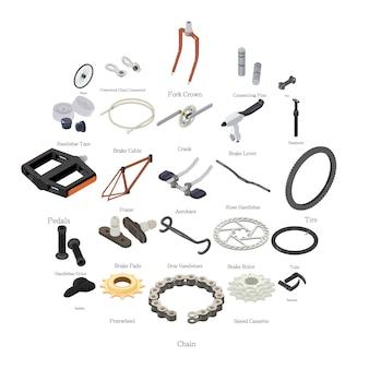 Conjunto de ícones de peças de bicicleta, estilo isométrico