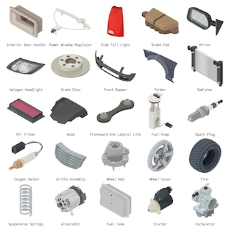 Conjunto de ícones de peças de carro. ilustração isométrica de 25 ícones de vetor de peças de carro para web