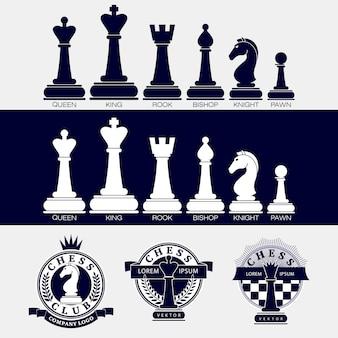 Conjunto de ícones de peças de xadrez e logotipos de clubes de xadrez.
