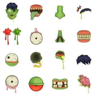 Conjunto de ícones de peças de zumbi